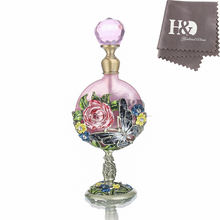 H&D Wedding Decoration Perfume Bottle Antiqued Style Retro Hollow Flower Inlaid With Butterfly Glass Empty Perfume Container 7ML(China)