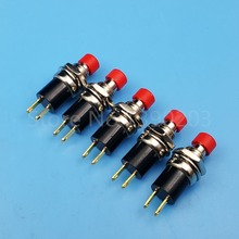 5Pcs Red Cap PB05A 7mm 2Pin 1NO Latching ON-OFF Mini Push Button Switch