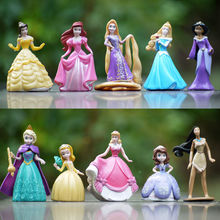 10pcs/lot Princess doll Cinderella Snow White Rapunzel Mermaid Ariel Jasmine Belle baby princess toy Figures for girls(China)