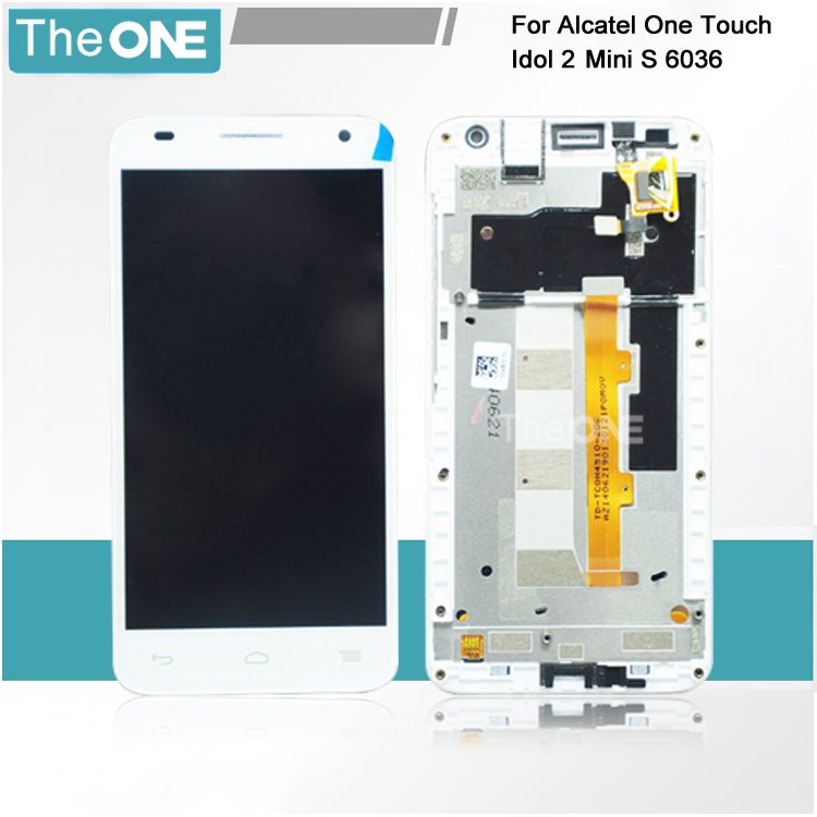 LCD For Alcatel One Touch Idol 2 Mini S OT6036 6036 6036Y LCD With Touch Screen Display Digitizer Frame Assembly Black/White<br>