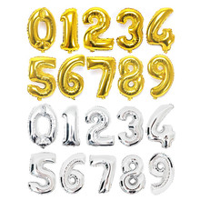 40 inch Gold Silver Large Foil Number Balloons Helium Air Inflable Digital Balloon Wedding Birthday Party Decoration Supplies(China)