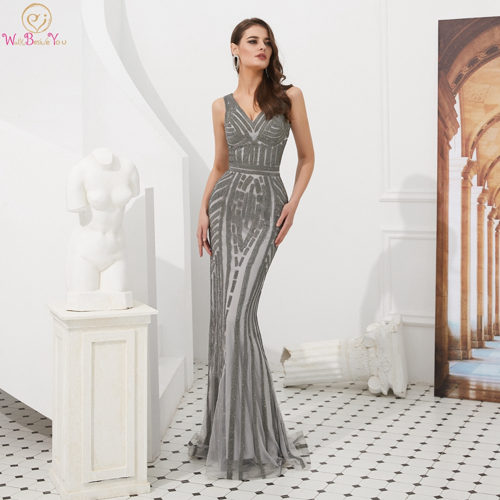 Silver Prom Dresses for Girls Mermaid 2019 Long Crystal Sparkle V-neck Sleeveless Prom Party Gowns Evening Sweep Train 2019
