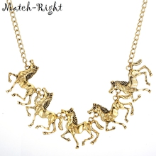 Match-Right Women Maxi Necklaces & Pendants Statement Custome Horse Necklace With Pendant for Women Cute Jewelry NL-627