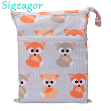 [Sigzagor] 1 Wet Dry Bag, With Two Zippered, Baby Diaper Nappy Bag, Waterproof, Swimmer,Retail Wholesale,36cmx29cm, 90 Choices