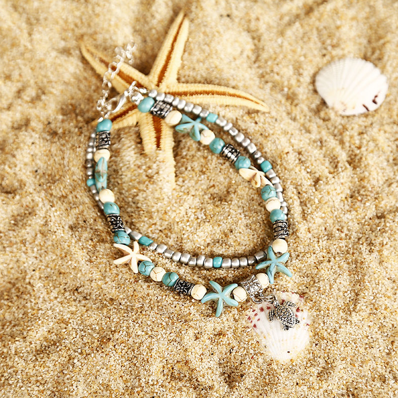Bohemian style layered Starfish ankle beads chain anklet vintage sea turtle anklet beach Shell Charm Bracelet Boho jewelry ns15 2