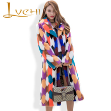 LVCHI Long Loose Colorful Natural Fur Coats 2017 Import Mink Fur Jacket Winter Polo Collar Women Outerwear Fashion Sweet Coat