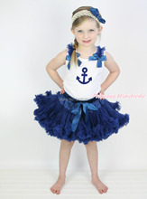 White Pettitop Top Shirt Sailor Print Navy Blue Bow Pettiskirt Dress Set 1-8Y MAPSA0528