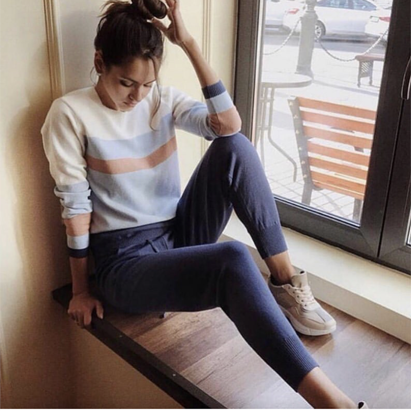 2019 Women Knitted Pullove Sweater and Pants 2 Pieces Sets multicolor cut and sew Clothing Knit Tracksuit Striped Suits Sporting