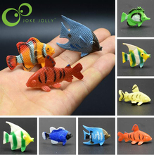 12 pcs Tropical Ocean Fish Pet Figures Toy Gift Sea Life Model Toys PVC Pool Fish Toy Early Education Mini Marine Animals GYH