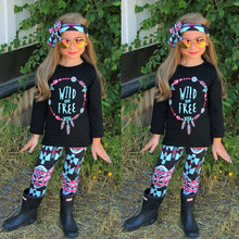 Baby girl cloths set Infant Baby Girls Kids Letter Print Tops Shirt Pants 3Pcs Set Outfits Clothes WILD AND FREE Casual fashion