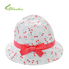 Infant Summer Outdoor Baby Girls Hat Visor Cotton Sun Cap Cherry Print Bowknot Beach Princess Bucket Hats Free Drop Shipping(China)