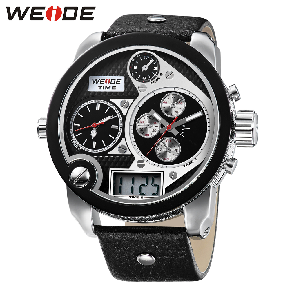 weide brand watch sport leather strap in  digital  LED watches quartz men analong electronic alarm stopwatch discounts clock <br>