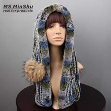 Hand Knitted Genuine Rex Rabbit Fur Hooded Scarf With Fur Pompom to Closed Women Scarf and Hat