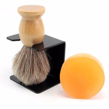 ZY Pure Horse Hair Shaving Beard Brush + Barber Shave Soap + Bowl Cup Holder Stand Men Shaving Set(China)