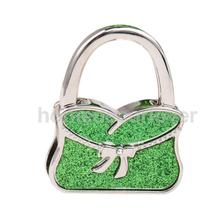 Portable Folding Handbag Bag Purse Hanger Table Hook Holder Handbag Shape Bowknot Decor Shiny Green