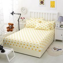1pcs Bed Sheets With Elastic Band 100% Polyester Fitted Sheet Mattress Cover Cartoon Yellow Printed Bedding Bedspreads Bedsheet(China)