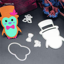 PANFELOU NEW year Penguin doll Scrapbooking Christmas card album paper die metal craft stencils punch cuts dies cutting(China)
