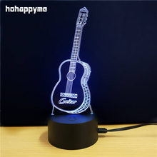 LED Decorations Guitar 7 Colors Changing Desktop Colorful LED Lights Guitar Neon Signs For Home Decor Gift