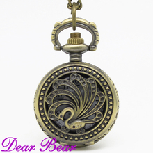 (3027)Vintage Bronze Peacock Pocket Watch Necklace, Dia 2.7.cm, 12pcs/lot, Free shipping(China)