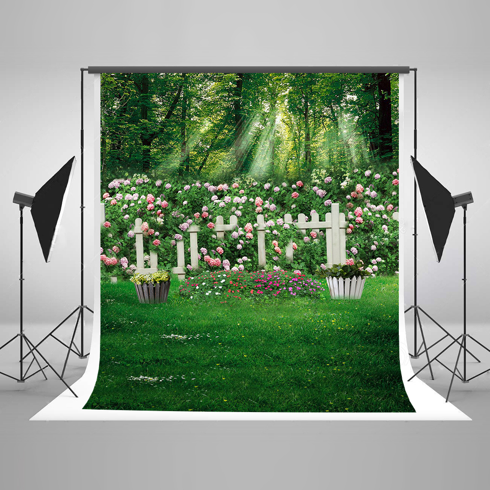 Kate Spring Forest Fairy Tale Photography Backdrop For Photo Flower Fence  Photo Backdrops Green Cotton Washable Backdrop<br>