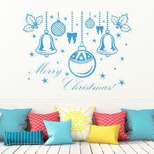 Merry Christmas Snow Ball Removable Home Vinyl Window Wall Stickers Decor Store Glass Window Stickers New Year Decoration Decals(China)