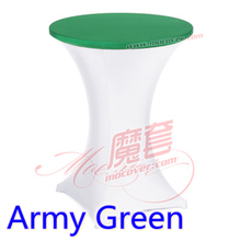Army Green colour spandex top cover for round cocktail lycra table cloth wedding banquet party cocktail table decoration sale