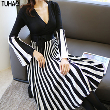 TUHAO 2017 Autumn Winter New Female Dress Slim Elegant Office Lady Woman Clothing V-Neck Stripped Empire Mid-Calf Dresses ST17(China)