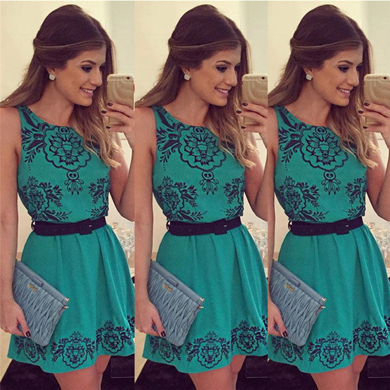 Vintage Style Women Dress Printed Sexy Vestide Summer Sleeveless Party Female Clothing Robe Femme A-Line Casual Dress