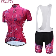 Buy Women Cycling Jersey Sets teleyi Brand Ropa De Camisa Ciclismo Short Sleeve Bike Clothing Sport Jerseys Cycling Set BX-0209W021 for $11.54 in AliExpress store