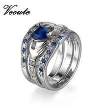100% Real White Gold Color Blue Zircon Copper Ring for Women Wedding Jewelry 3Pcs/Set Size 5,6,7,8,9,10,11,12