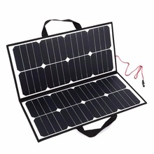 Portable 50W 18V Monocrystalline Silicon Solar Panel Camping Waterproof Folding Solar Power Panel Charger For Battery Covenience