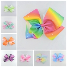 10pcs Jeweled Pastel flora ombre ribbon 18cm big Signature hair bows Alligator clips crystal Rainbow Rhinestone Accessory HD3474