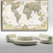 QK ART Home Decor no Framed large map of the world Poster Oil Painting on Canvas for Living Room Office Bedroom(China)