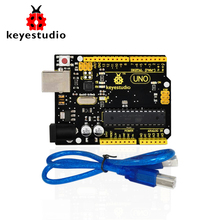 1Pcs Keyestudio UNO R3 board(original chip) +1Pcs USB cable 100% compatible  for Arduino Uno R3