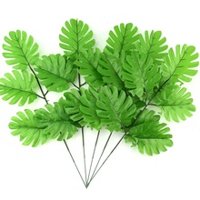 10pcs large Artificial Fake Monstera Palm Tree Leaves Green Plastic Leaf Wedding DIY Decoration Cheap Flowers Arrangement Plant