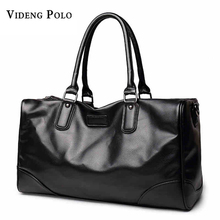 VIDENG POLO Brand PU leather Handbag Men Travel Bag Quality Large Capacity Black Women Duffle bag Luggage valise malas de viagem