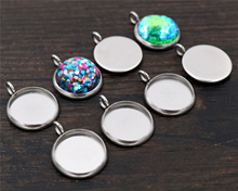 20pcs 12mm Inner Size Stainless Steel Material Simple Style Cabochon Base Cameo Setting Charms Pendant Tray (A7-41)