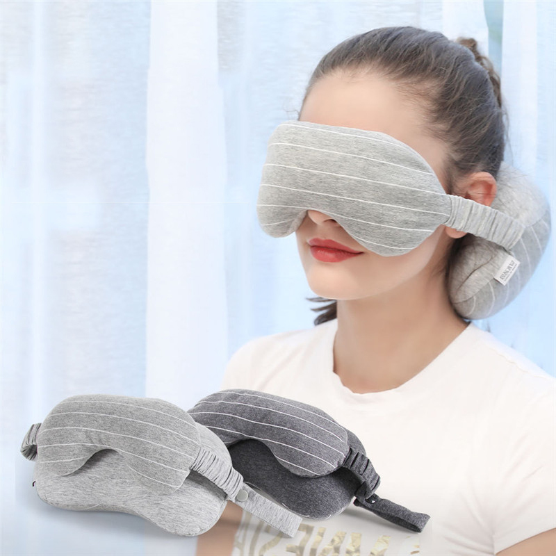XC USHIO Grey Travel Neck Pillow With Mask Storage Bag Neck Cushion For Airplane Driving Working Watching TV 2019 Newest 2 in 1  (1).jpg