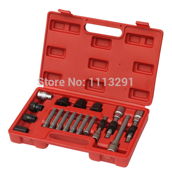 18 Pcs Alternator Pulley Kit, freewheel pulley removal tool kit, engine tool set<br>