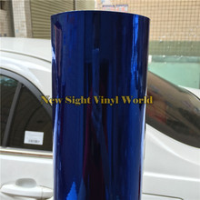 Best Quality Flexible Chrome Blue Vinyl Film Foil Chrome Blue Wrap For Vehicle Wraps Bubble Free Size:1.52*20M/Roll
