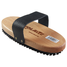 VOLA Racing Oval Ski Waxing Brush Nature Beech Wood Brass Nylon Horsehair With Nice Leather Strap