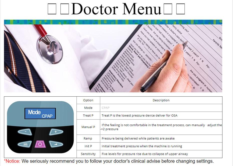 CPAP doc menu