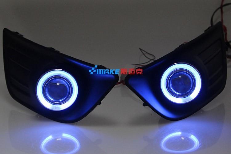 LED DRL daytime running light COB angel eye, projector lens fog lamp with cover for Citroen C4 2008-11, 2 pcs<br><br>Aliexpress