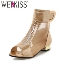Big Size 34-42 New Arrive Summer Boots Women Peep toe Metal Zip Ankle Boots Sexy Mesh Pu Patchwork Low Heels Casual Shoes Woman