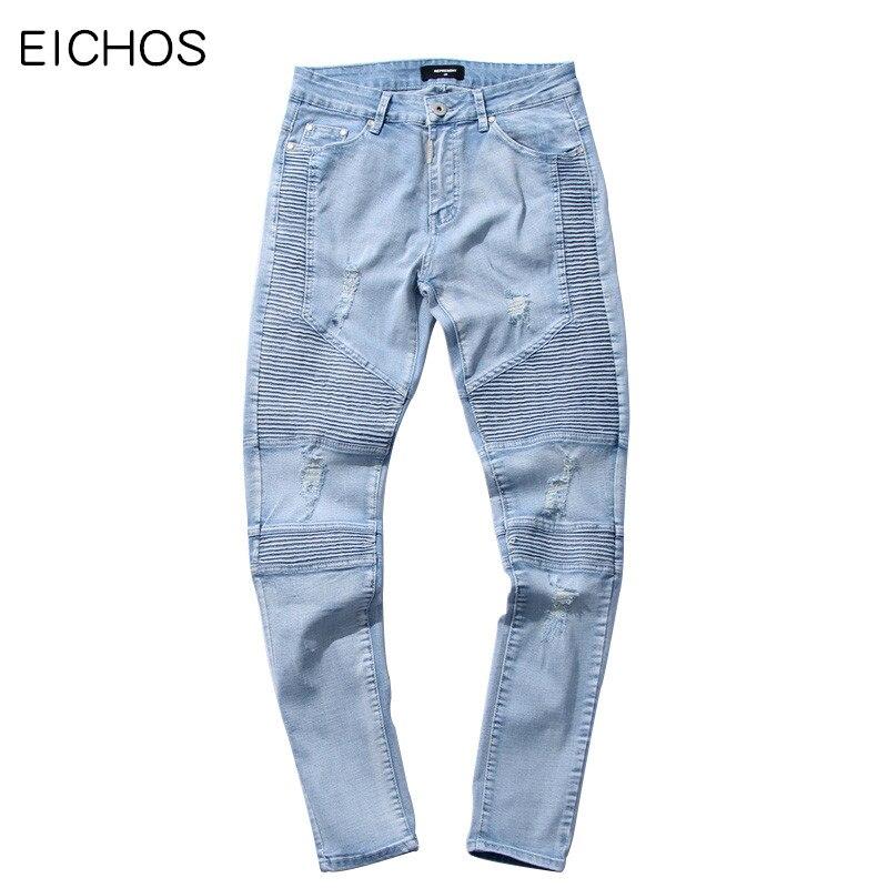 EICHOS Men Biker Jeans Ripped Denim Slim Fit Jean Pants Crease Designer Hip Hop Skinny Jeans With Holes Mens TrousersÎäåæäà è àêñåññóàðû<br><br>