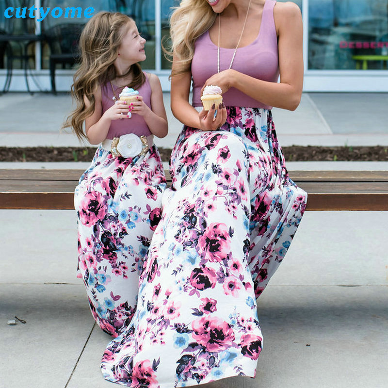 Summer Family Matching Outfits Mother and Daughter Dresses Patchwork Dress Kids Mom Daughter Floral Dress Matching Clothes 2018 (27)
