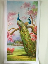 100% animal classical handpainted painting peacock landscape oil painting handmade oil painting 20 years of painting skills(China)