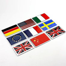 100 Pieces Flag Car-styling Chrome Metal America UK Italy France Sweden EU National China Flag Car Stickers Badge Decorations(China)
