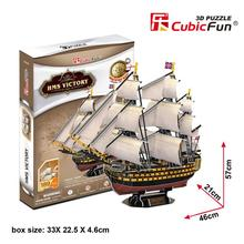 Educational toy 1pc CubicFun HMS VICTORY ship mayflower ship 3D paper jigsaw puzzle assembling model children gift toy