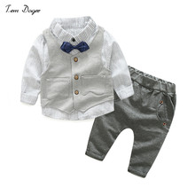 Tem Doger Baby Boy Clothes Newborn Clothing Sets Baby Brand Clothing Gentleman Suit Shirt + Pants+Vest Baby Clothing Set(China)
